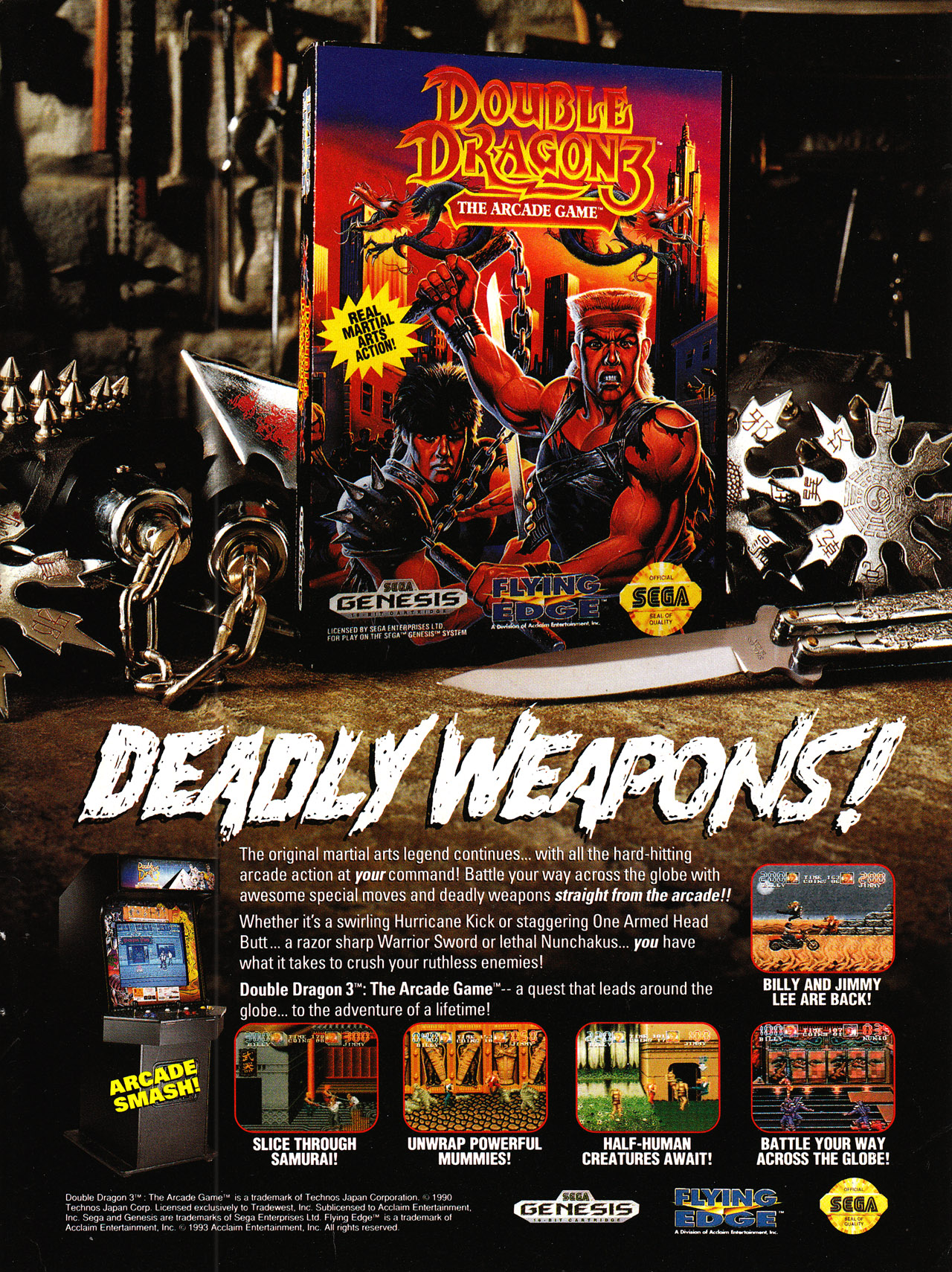 Video Game Ad Of The Day Double Dragon Iii The Arcade Game
